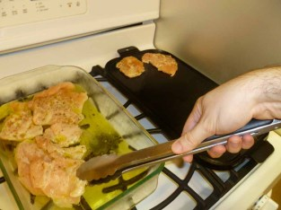 Adding chicken to cast iron