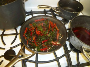 5 red swiss chard with garlic and olive oil