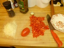 Diced tomato and more parm