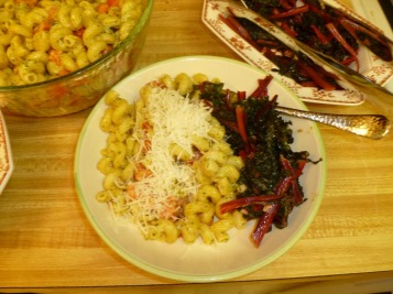 pasta and pesto cream with red swiss chard plate