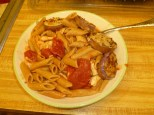 Pasta with red sauce & crummy eggplant