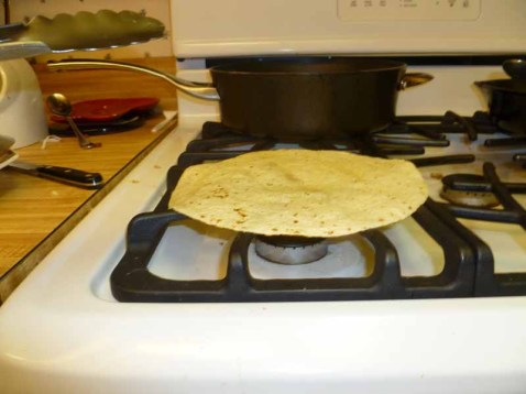 Tortillas toasting