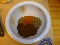 Cumin, tumeric, curry powder and oregano