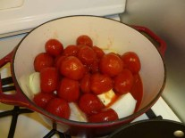 6-Plum tomatoes, butter and onions