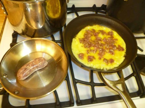 Sausage added to omelet