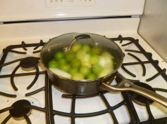 Tomatillos, garlic & onion cooking