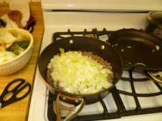 Onions added to beef