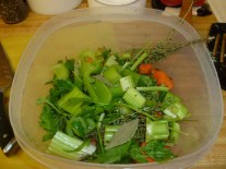 Carrots, Celery, Thyme, Parsley, Bay Leaf & Pepercorns