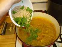 Adding Rice, Parsley & Chives