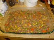 Meat & Vegetable Mixture In Baking Dish