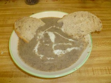 Mushroom Soup Plated With Bread