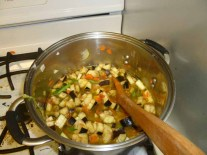 Vegetables & Liquid In The Pot