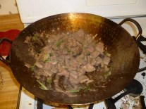 Beef, Scallions & Ginger Cooking