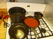 Sauce Cooking, Water Boiling & Butter Ready For Peas