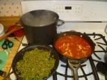 Pasta In Water, Peas Cooked & Sauce With Chicken