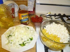 Peppers, Onions, Hominy & Corn Prepped