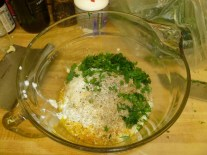 Eggs, Parsley, Cottage Cheese, Parmesan, Salt, Pepper & Seasoning Salt In Bowl