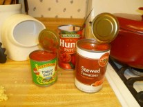 Opened Cans Of Tomato Sauce, Stewed Tomatoes & Tomato Paste