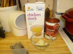 Chicken Stock, Stewed Tomatoes & Minced Garlic