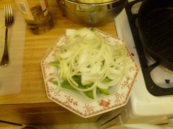 Sliced Green Peppers & Onions