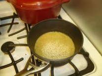 Couscous In Boiling Veggie Broth With Cumin
