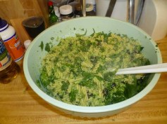 Broccoli Pesto Added To Pasta, Spinach & Olives