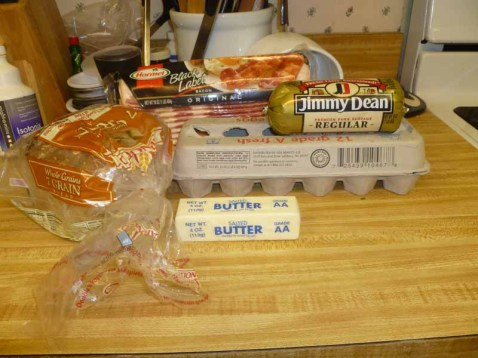 Bacon, Eggs, Sausage, Bread & Butter
