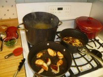 Pasta Water Boiling, Chicken Cooking In Oil & Cream Added To Sauce