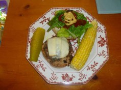 Muenster Burger With Homemade Mayo & Steamed Corn