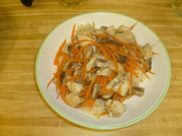 Stir-Fried Chicken With Carrots & Mushrooms Plated