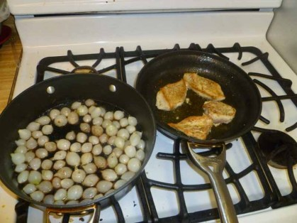 Onions With A Little Color, Cooking Chicken