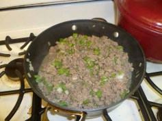 Beef, Onion & Green Pepper Cooking