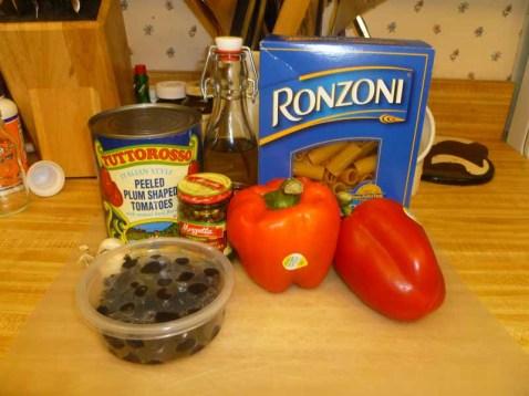 Pepper Puttanesca Sauce & Pasta Ingredients