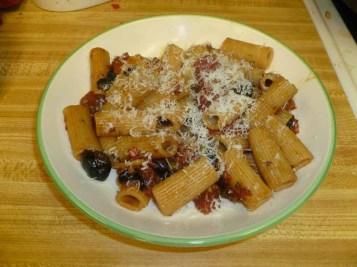 Pepper Puttanesca Sauce & Pasta Plated
