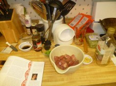 Beef Chopped & Marinating, Ready To Wok