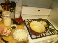 Bacon & Onion Chopped, Butter Heating & Chicken Cooking