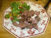 Sliced Steak Sensation & Sweet Tomato & Blue Cheese Salad With Basil Vinaigrette Plated