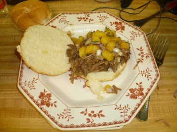 Hawaiian BBQ Pulled Pork Sandwich with Grilled Pineapple Relish Plated
