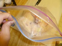Adding The Brine To The Chicken