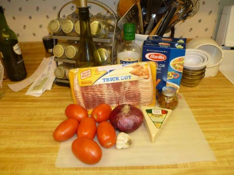 Bacon & Tomato Pasta Ingredients
