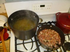 Pasta Boiling, Bacon Cooking