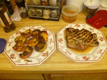 Grilled Pork Chops N Peaches