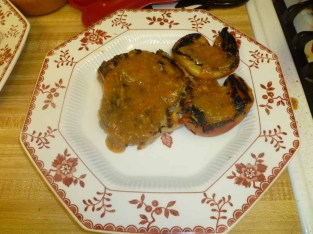 Grilled Pork Chops N Peaches Plated