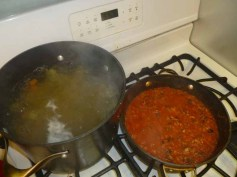 Pasta Cooking, Sauce Bubbling