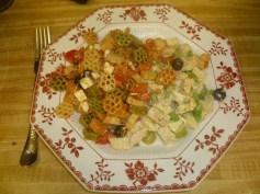 Chicken Salad Veronique & Tomato Feta Pasta Salad Plated