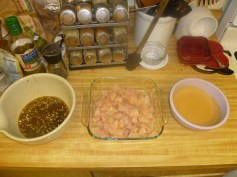 Dipping Sauce, Chopped Chicken Breasts & Peanut Sauce