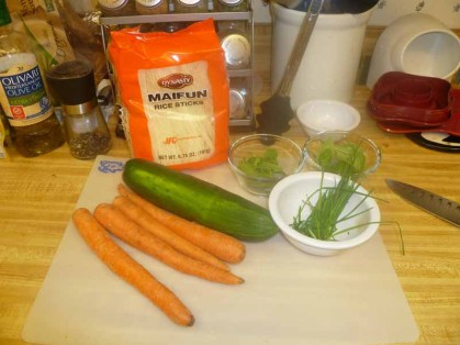 Rice Noodles, Carrots, Cucumber & Herbs