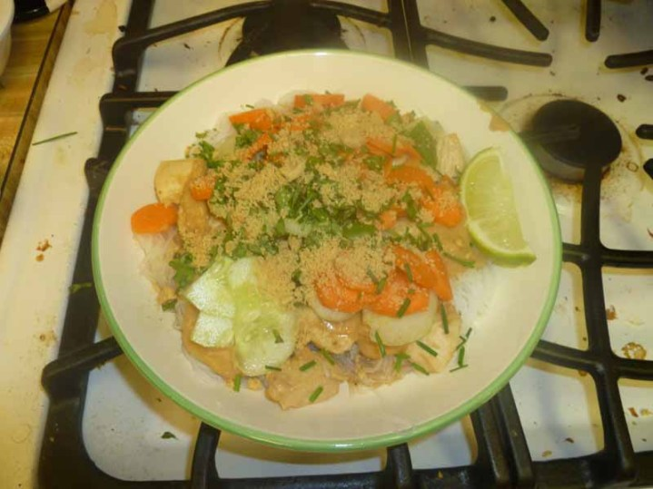 Cold Rice Noodles With Peanut-Lime Chicken Plated