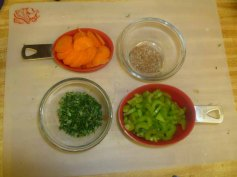 Vegetables Chopped, Herbs Mixed