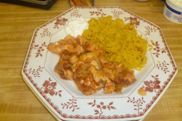 Salsa Chicken & Mexican Rice Plated